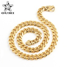 OUMI 패션 금 Jewely Stainless Steel 18 K 금 쿠바 Link <span class=keywords><strong>목걸이</strong></span>