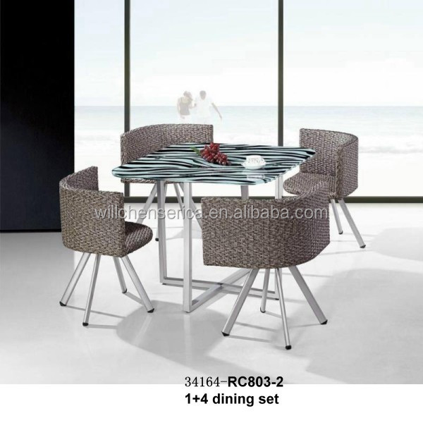 New Design 34164-RC803-2 1+4/1+6 rattan glass dining set