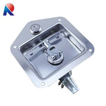 Heavy Flush Mount Polished Stainless Steel Key-Locking Recessed Truck Body Toolbox Lock