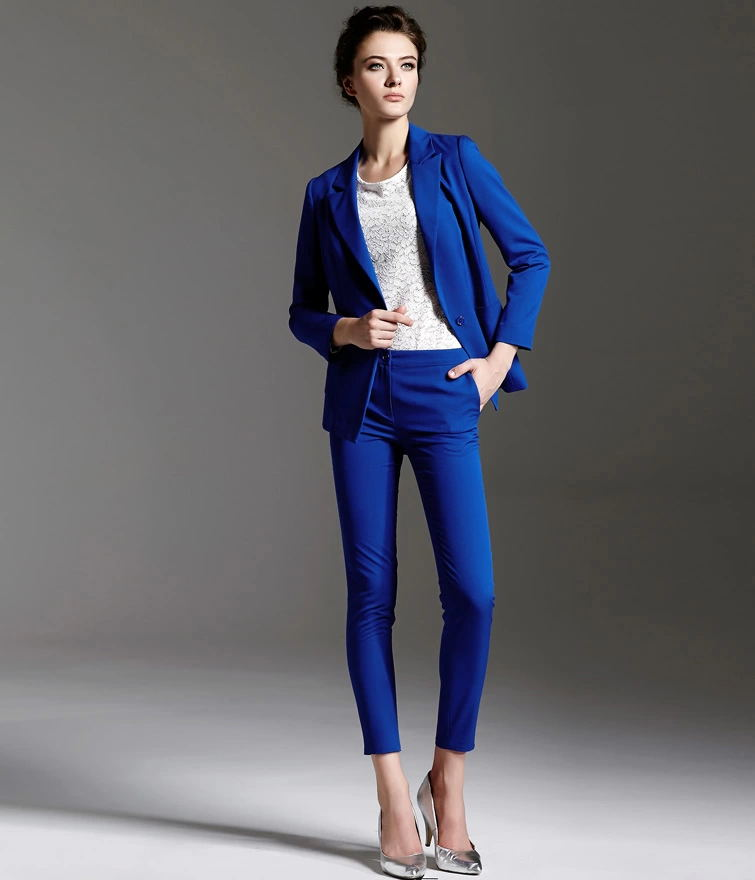 2014 new style jewelry blue slim fit long sleeve ladies
