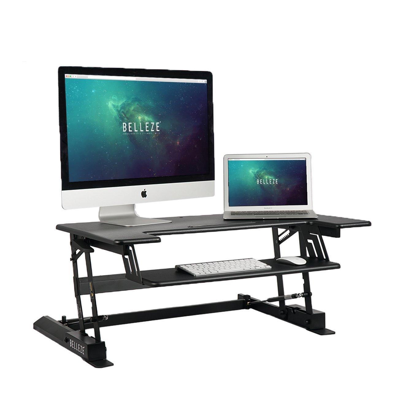 BELLEZE | Stand Up Desk | Computer Riser Table | Keyboard Tray | Adjustable Height Desk Converter | Home | Office | Dorm | 36 Inch | Black