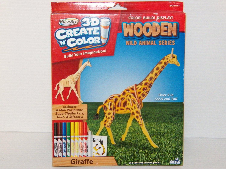 Rose Art Wooden 3-D Create N Color Wild Animal Series Wood Giraffe