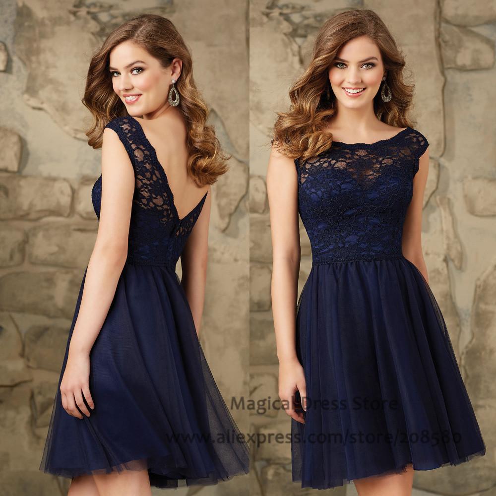 Lace Wedding Guest Dresses: Modest Short Navy Blue Bridesmaid Dresses Lace Abiti