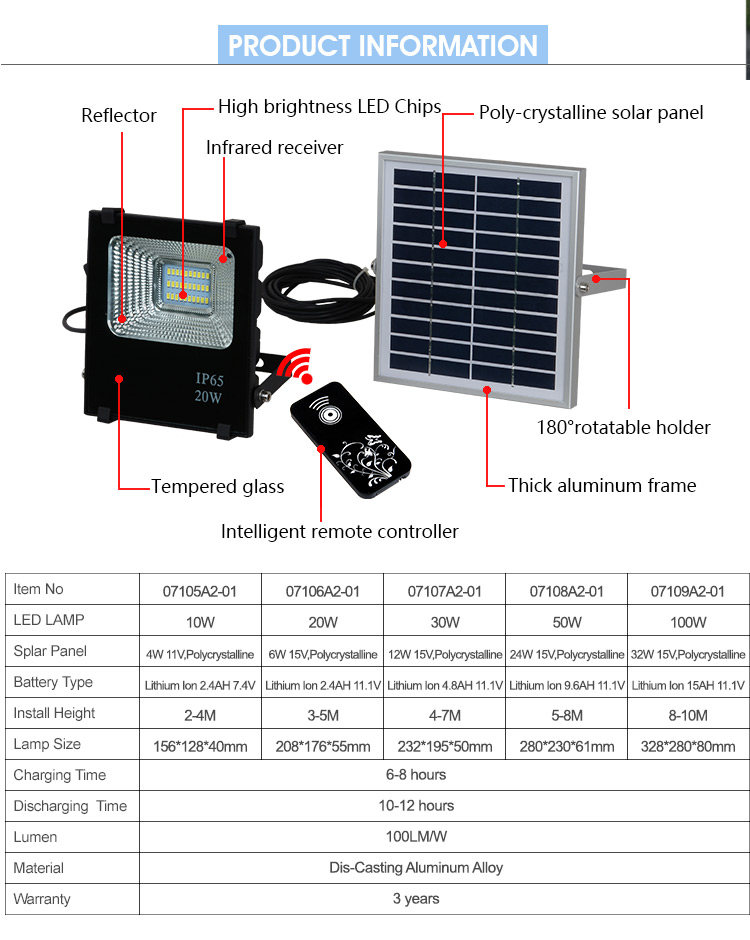 High temperature resistant solar power 12 volt foldable rechargeable 30 50 100 200 220 watt flood light