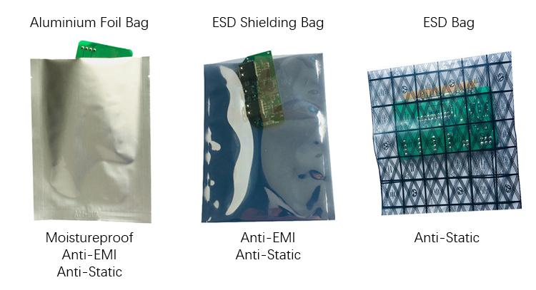 อลูมิเนียมพลาสติก Anti Static Ziplock Esd ป้องกันอิเล็กทรอนิกส์ Pet กระเป๋าซิป