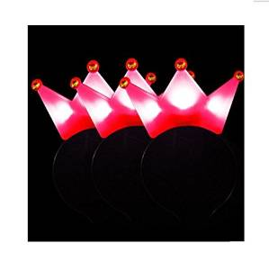 Cindy&Will Multicolor LED Flashing Light-Up Crown Headband Red&Pink&Yellow&Blue, 4Pcs