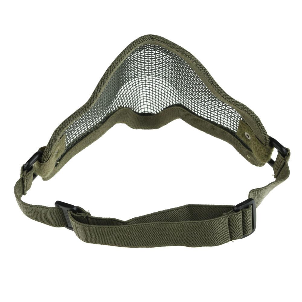 Новый регулируемая удар стальной сетки Airsoft половина маска для лица протектор зеленый CLSK