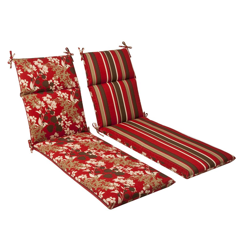 Pillow Perfect Indoor/Outdoor Red/Brown Floral/Striped Reversible Chaise Lounge Cushion
