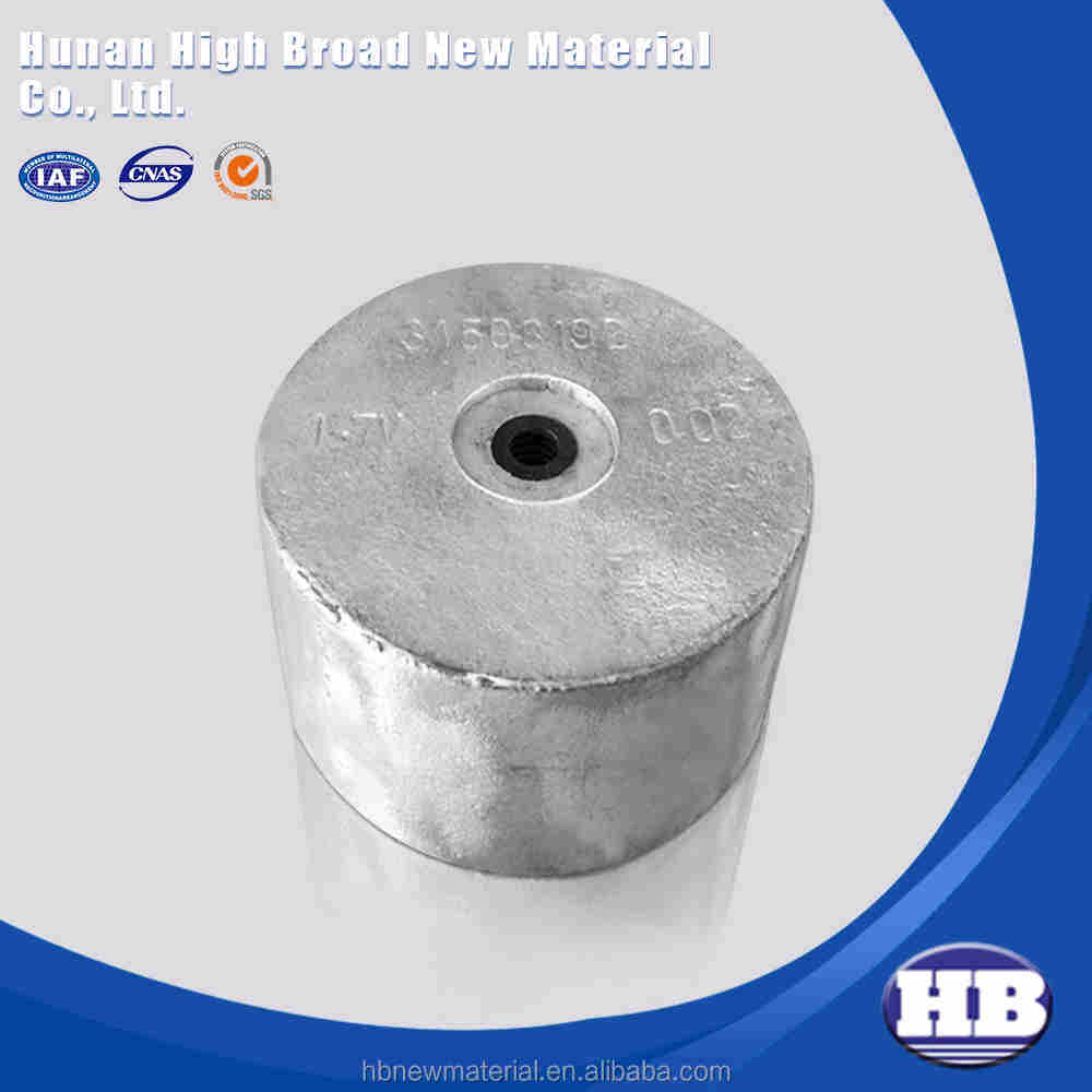 Cathodic protection sacrificial alloy cast h-1 magnesium anode