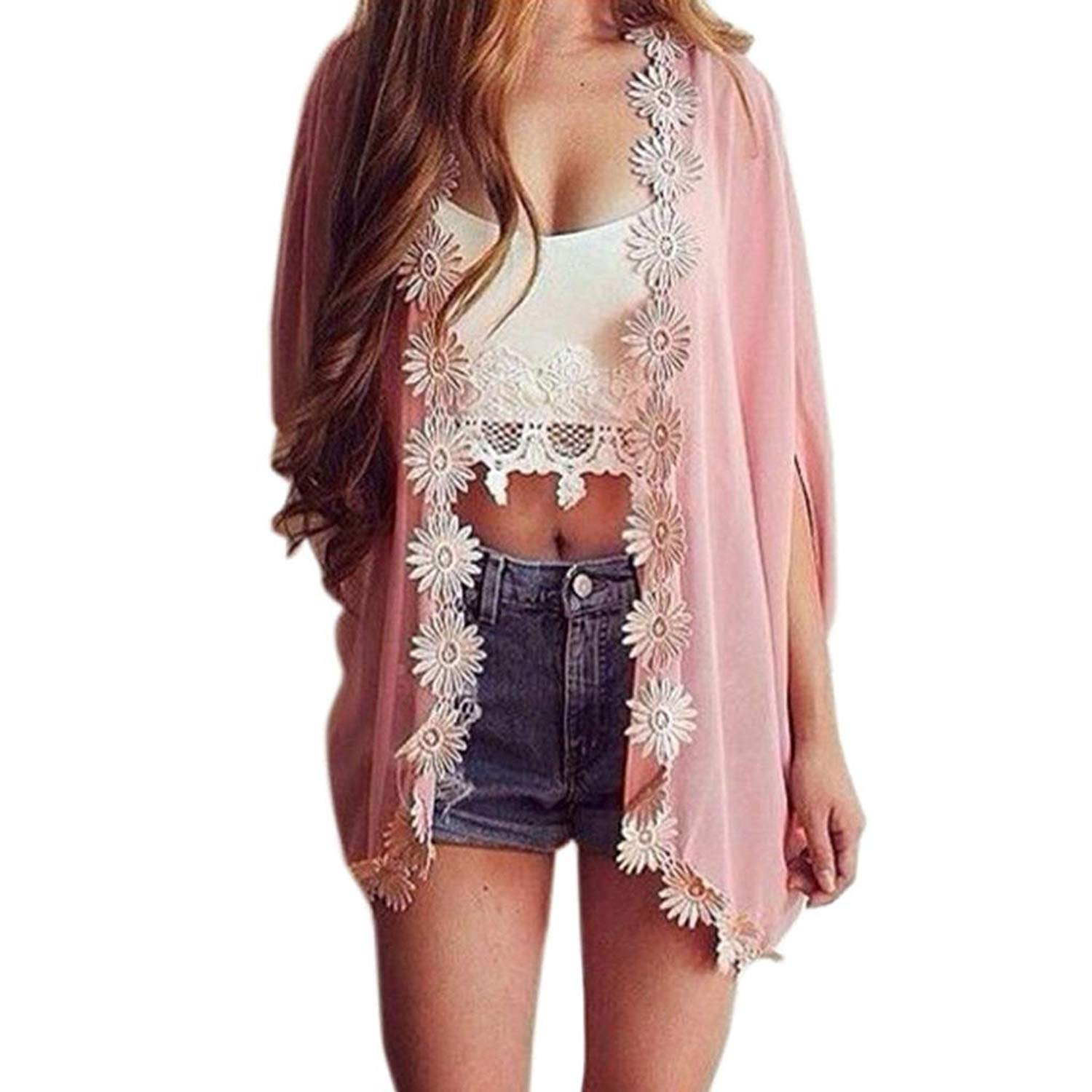 Clearance! Women Sexy Loose Lacework Kimono Cardigan Jacket Open Front Solid Blouse Tops