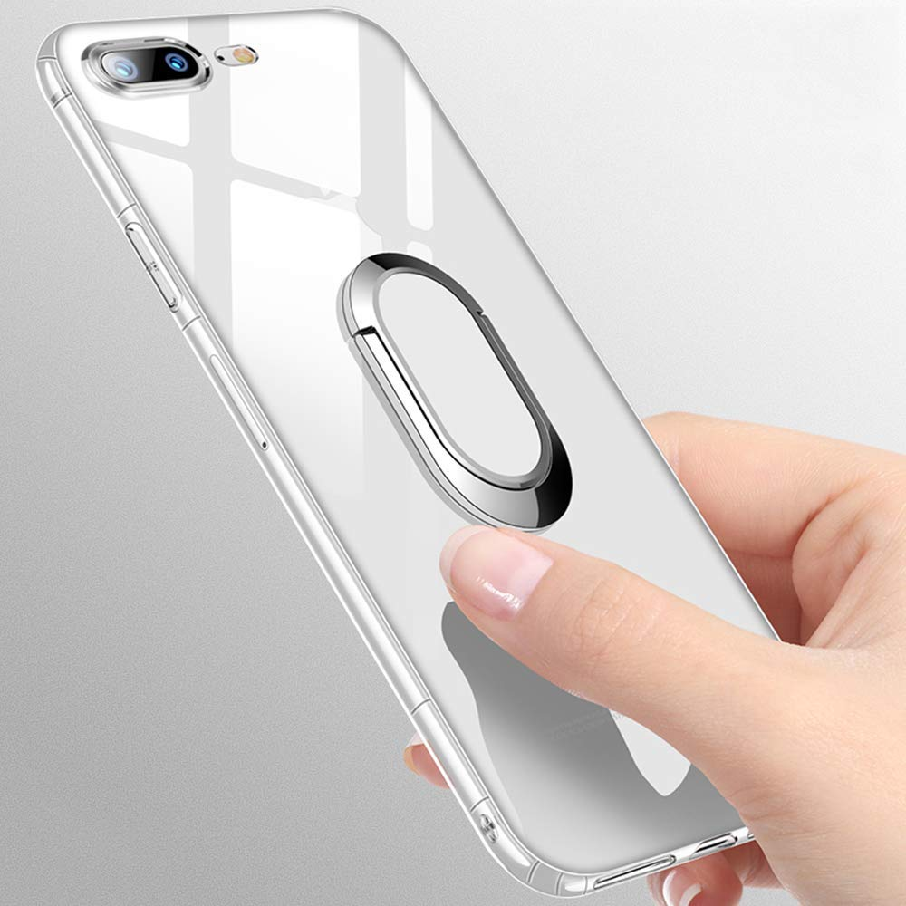 Clear Case for iPhone 7 Plus, Clear Case for iPhone 8 Plus, Soft TPU Air Cushion Bumper Drop Protection Case with 360 Rotating Ring Grip Holder Kickstand for iPhone 7/8 Plus