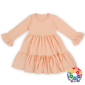 New Style Baby Girl Party Dress Children Frocks Designs Boutique Cotton Dresses Girl Baby Girls Long Ruffle Sleeve Dress Designs