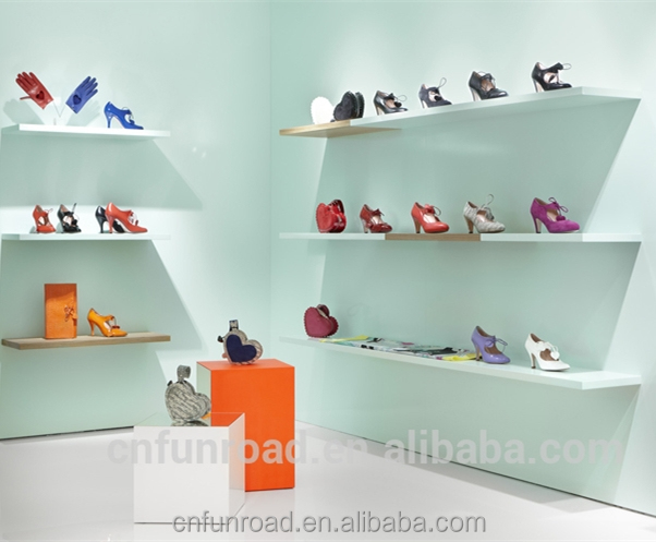 Candy color woman shoes display showcase shop retail shop furniture