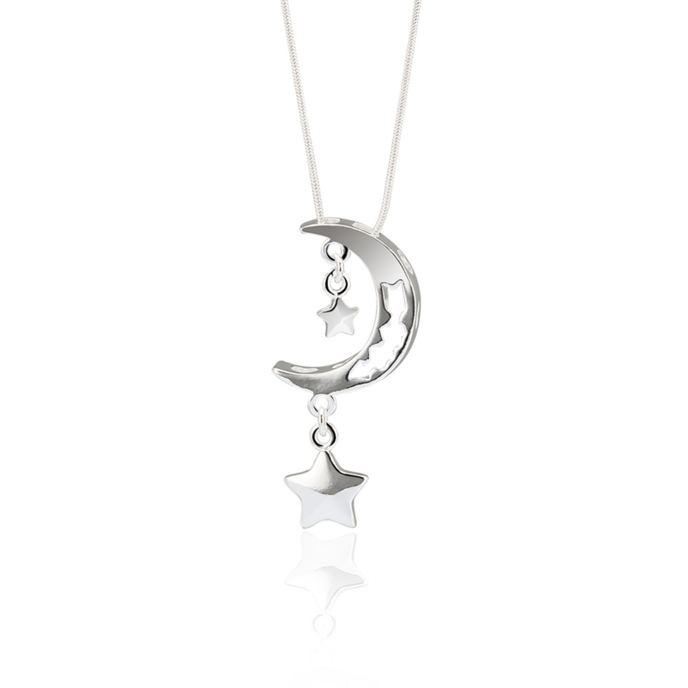 Fashion jewelry factory women female trends 925 sterling moon start thin chain silver necklace