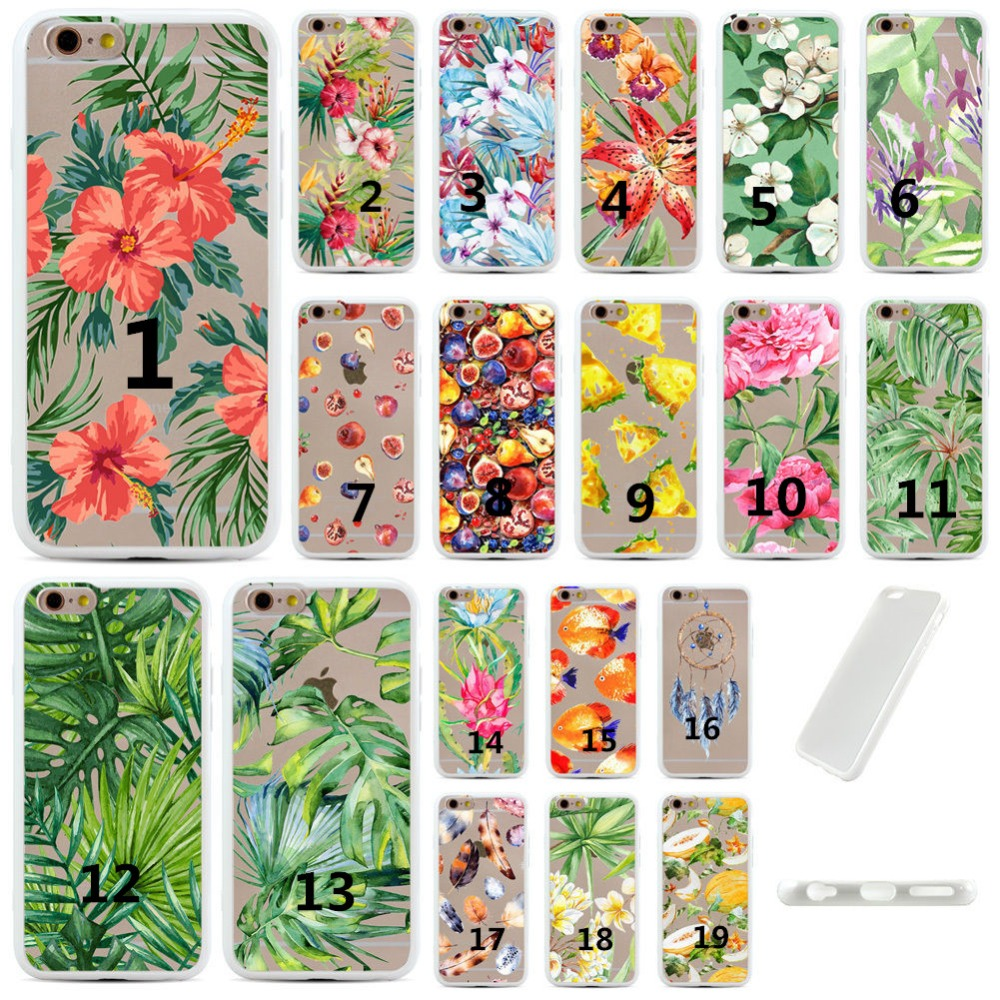 floral flower Summer Palm Tree Leaves Coloured drawing printing soft ultra slim clear tpu phone case cover for iphone 7