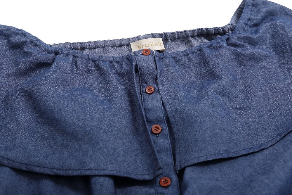 74232069eb5 Kate Kasin Retro 1940s Style Light Blue Denim Button Up Shirt Dress  KK000501-1