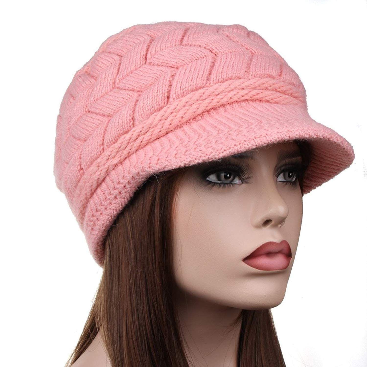 9989c4b6bf1 Get Quotations · TENGYI YiTeng Women Winter Warm Knit Hat Snow Ski Caps  With Visor