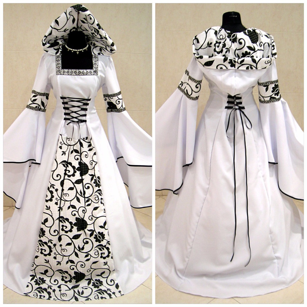 Medieval Black And White Gothic Wedding Ball Gown: The Tudors White Robe Medieval Victorian Renaissance