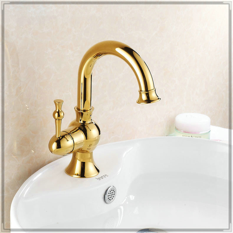 7 Faucet Finishes For Fabulous Bathrooms: Torneira Press Gold Finish Single Handle Bathroom Sink