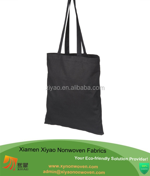 black plain cotton grocery promtional bag standard size