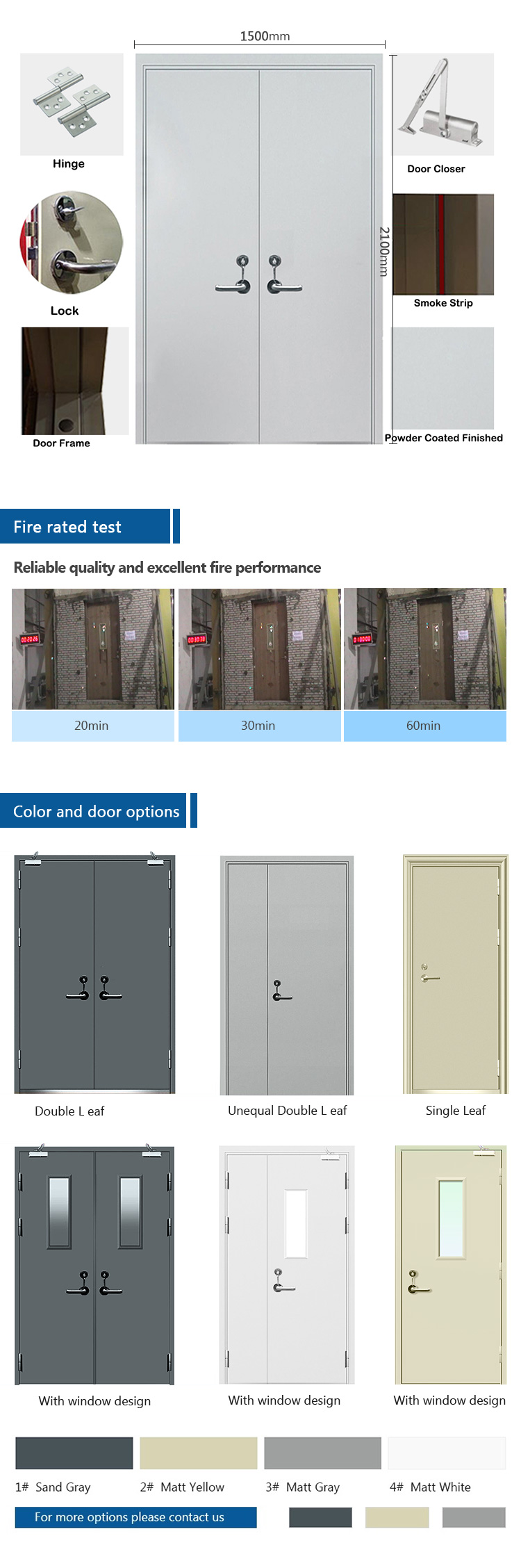 1 hour fire resistant stainless steel interior fire rated metal doors