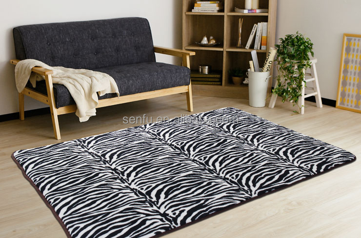 Man-made animal skin foam anti-slip print PV fleece mats/carpets