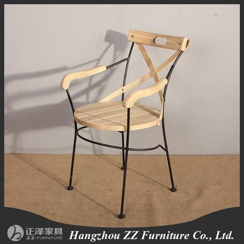 Wooden Wrought Iron Dining Chairs With Armrest - Buy Iron Chair