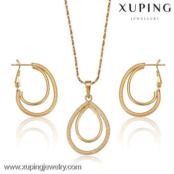 62676 Xuping Fashion Stylish Woman Jewelry Set Simple Gold Jewelry
