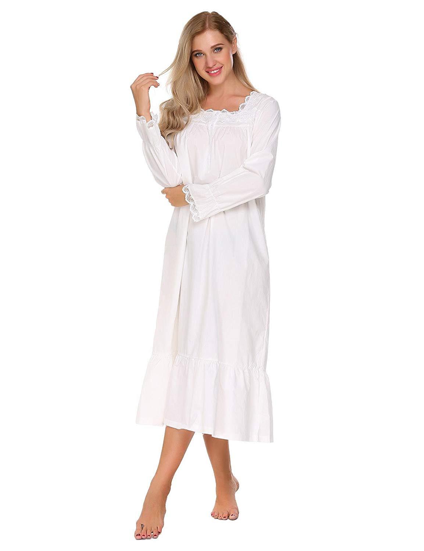 Langle Long Sleep Wear Dress Sleepshirts Womens Comfy Victorian Plus Size  Nightgown S-XXL 78f2ece89