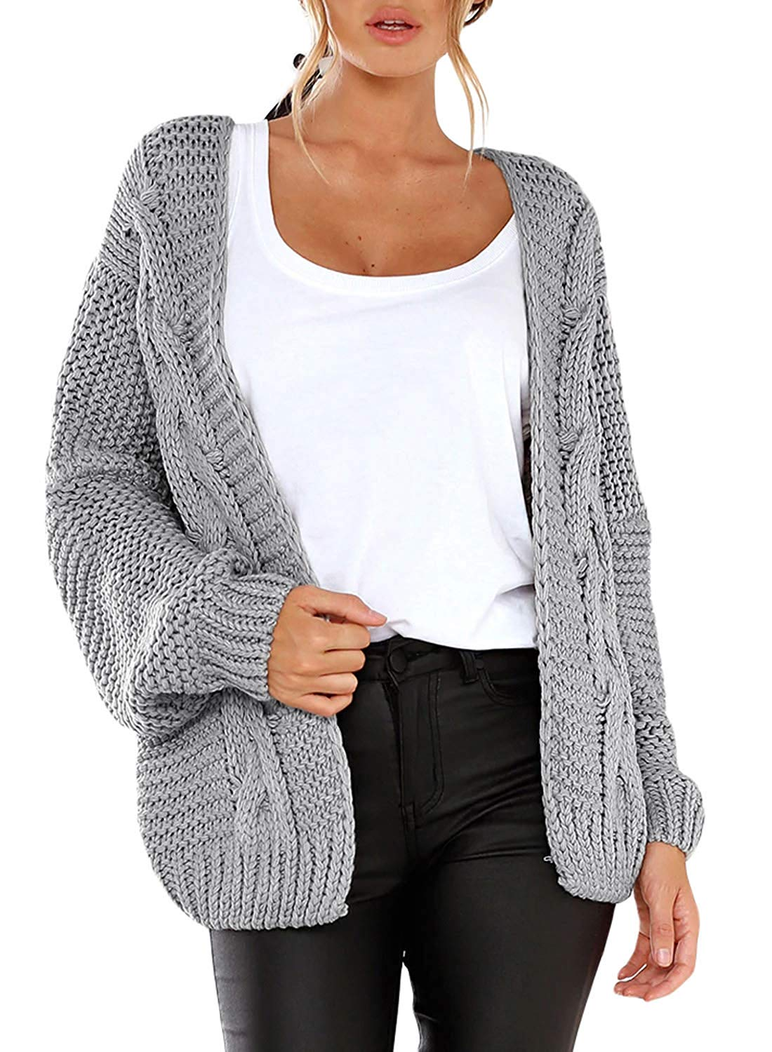 d0f88a0b95 Get Quotations · Heymiss Womens Cardigan Sweater Loose Open Front Wide Chunky  Knit Outwear Coat