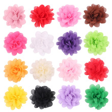 5CM Mini Tulle Chiffon Flowers For Headbands Girls Hair Accessories Flat Back 20 Colors 50PCS LOT