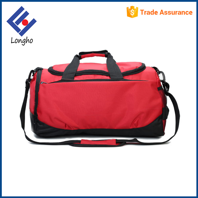 Promotion casual sport duffle bag for gym, classic polyester luggage travel bag with shoe & mesh pocket