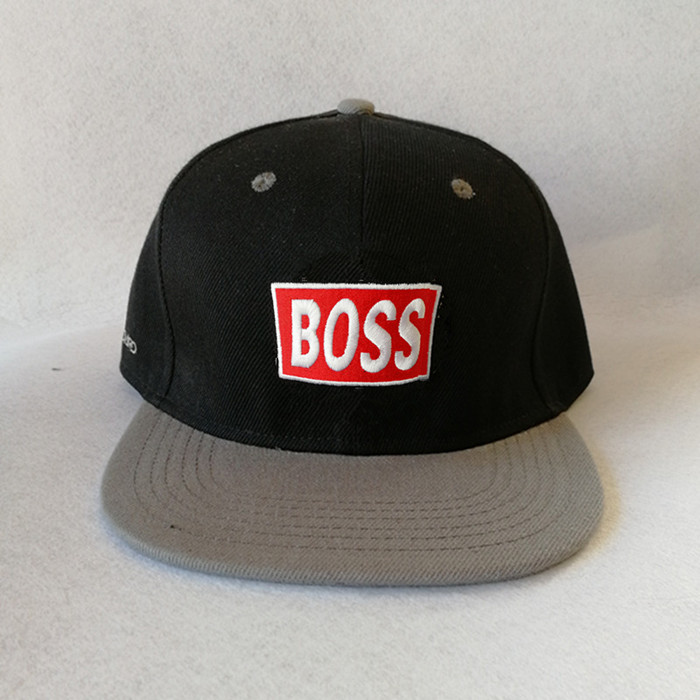 Custom 6 Panel 3d Embroidery Logo Black Printed Leather Brims Snapback Hats With Leather Strap