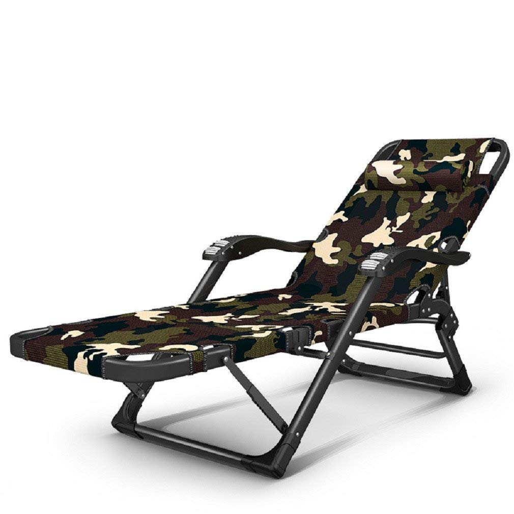 ZLJTYN Zero Gravity Folding Sun Lounger | Foldable Deck Chair Simple Camp Bed, Camouflage Army Folding Bed, Single Bed, Mid Bed, Office Nap Hospital Accompanying Bed, Beach Lounger,