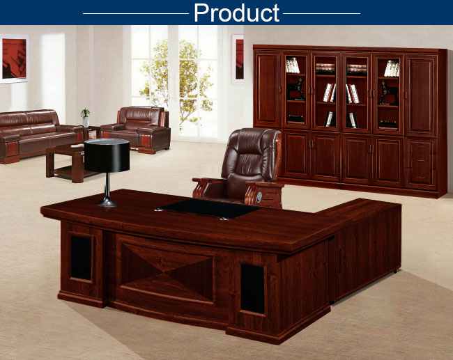 Classic Wooden Executive Desk HDF Board L Shape Executive Desk Set With  Side Cabinet With Drawer ...