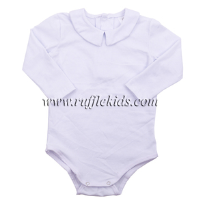 2018 cotton white newborn clothes with collar long sleeves romper child clothing Peter Pan onesie baby