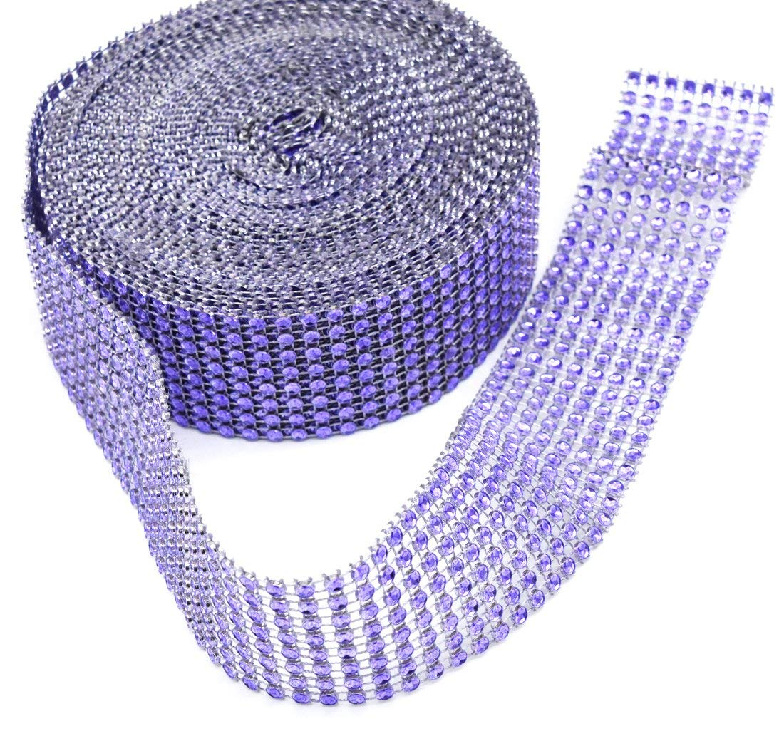 """JSSHI 8 Row,1-1/2"""" x10 Yard, Sparkling Rhinestone Mesh Ribbon Roll,Bling Wrap Ribbon Bulk,for Cakes,Party Decorations,and Arts and DIY Crafts Projects(Violet,1 Roll)"""