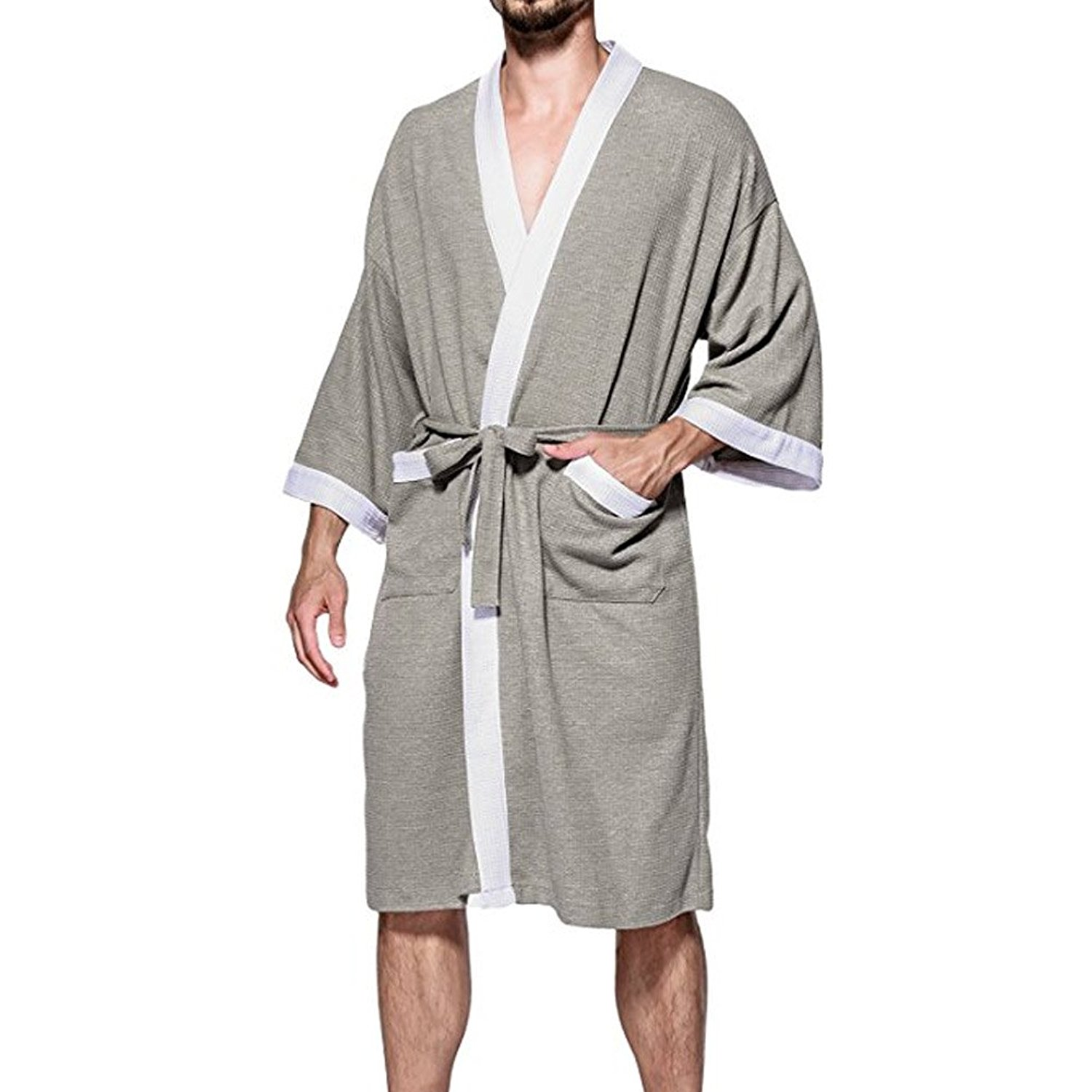Get Quotations · Aishang hai Men s Waffle Kimono Robes Spa Bathrobe Turkish Cotton  Hotel Spa Robes 089faa3ff