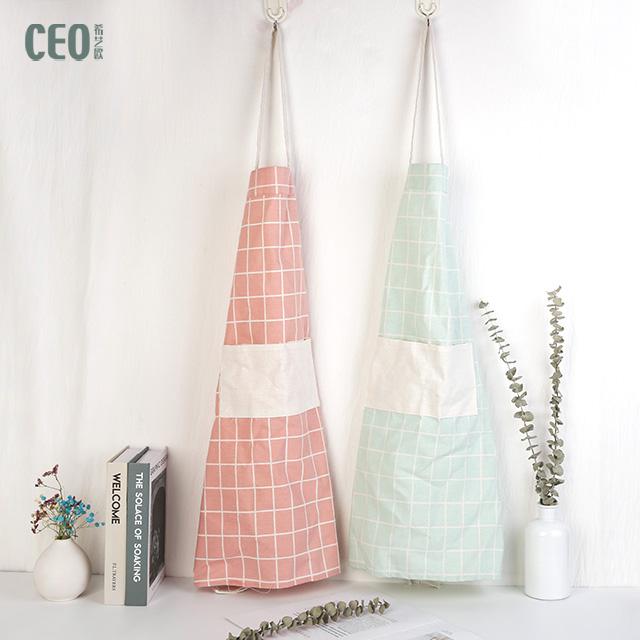 Tablier de cuisine en polyester rose imperméable à l'eau pour chefs de cuisine