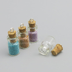 Empty 0.6ml Cute Mini Messages Wishing Glass Vials, Clear Charms Pendants With Wood Cork
