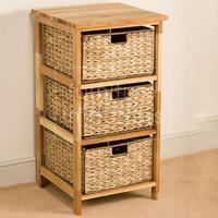 Narrow design oil drum furniture wooden storage 3 basket storage unit