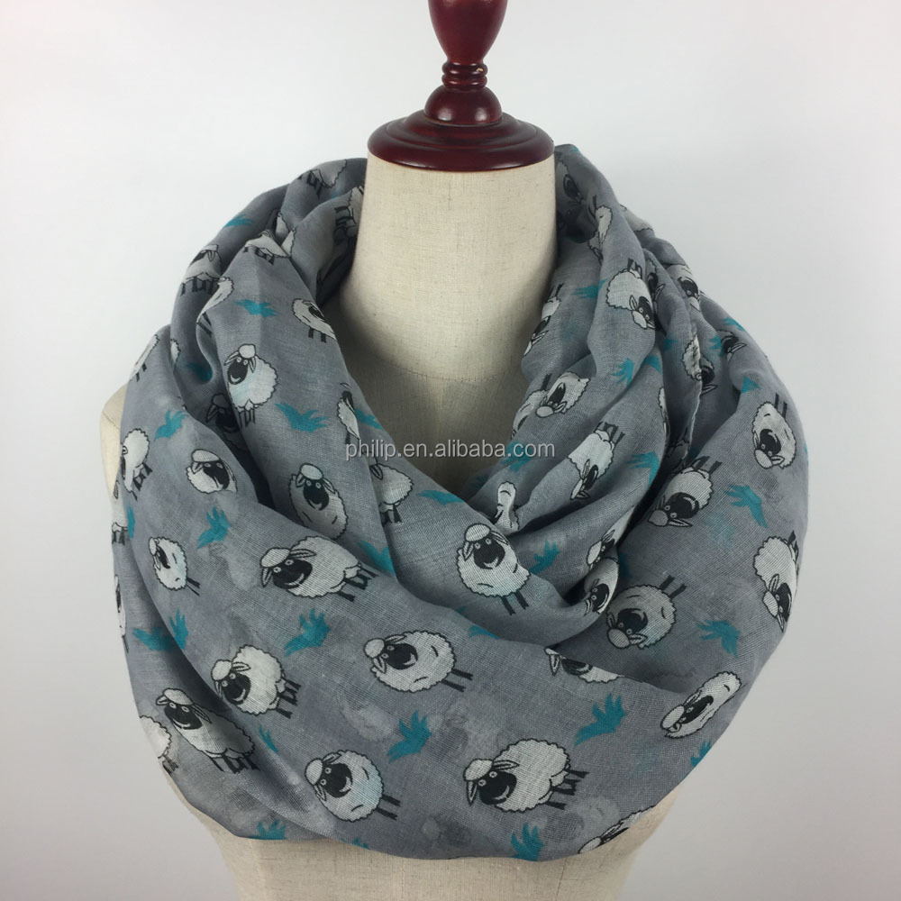 Wholesale sheep print round neck scarf