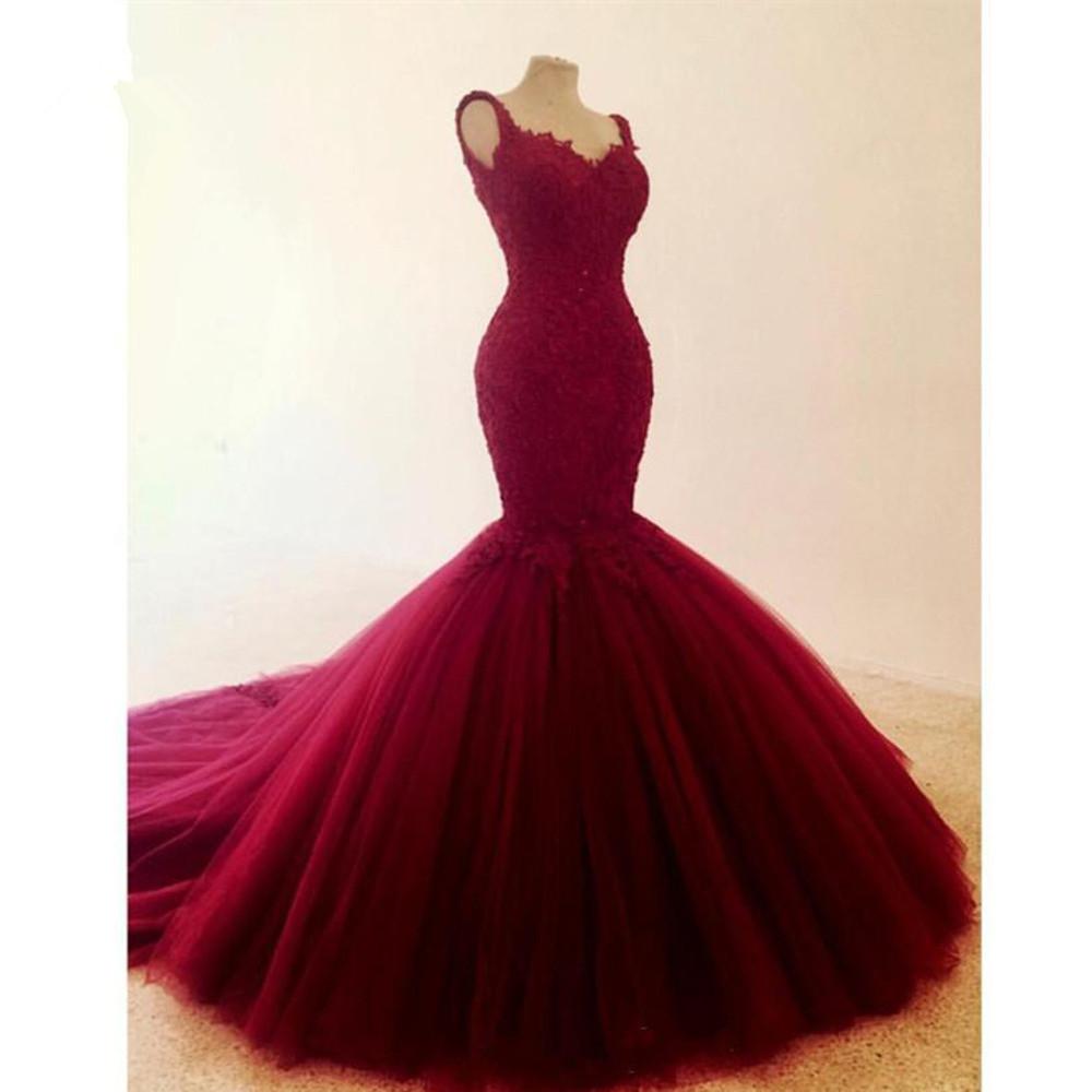 Pretty Backless Wiine Red Mermaid Wedding Dresses 2019 Lace Beaded