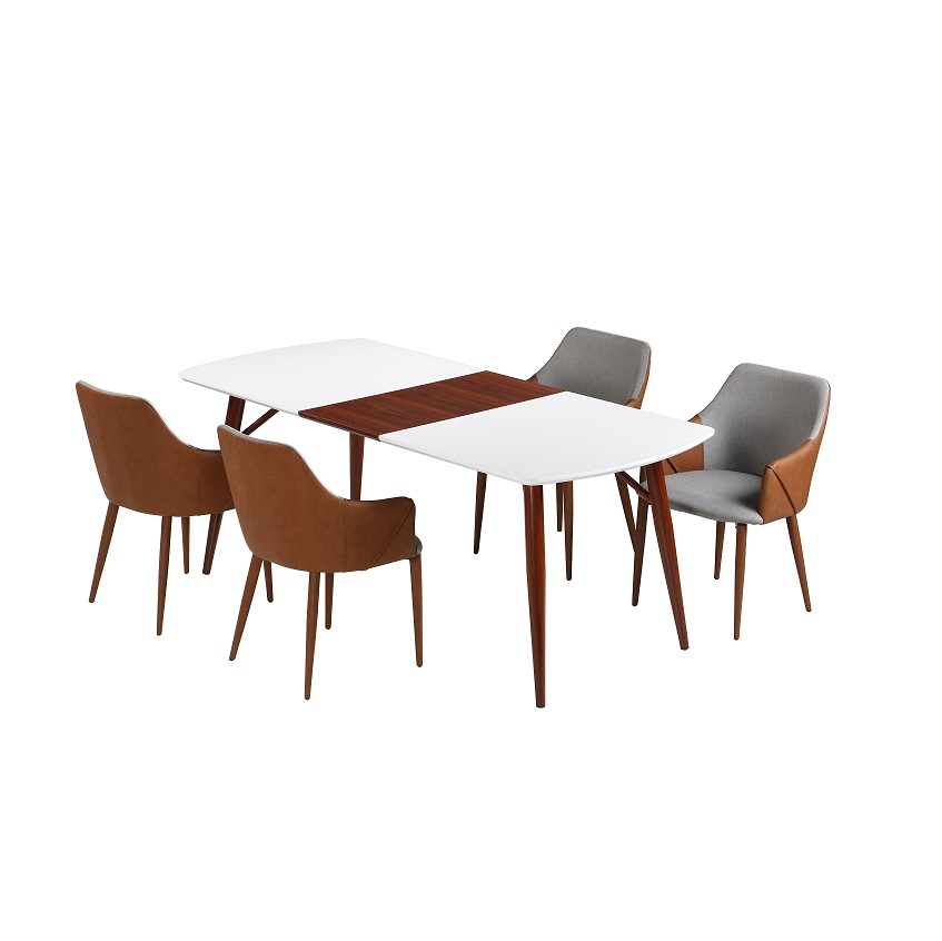 Modern space saving white extendable dining table