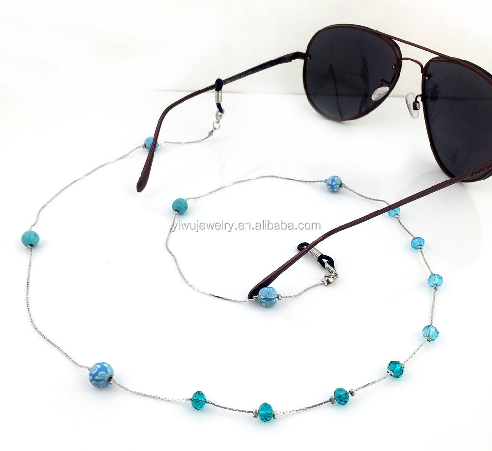 b60855b4d GL223 بارد الأزرق كريستال زهرة الخرز سلاسل حزام بزجاج الاطفال النظارات  الملحقات