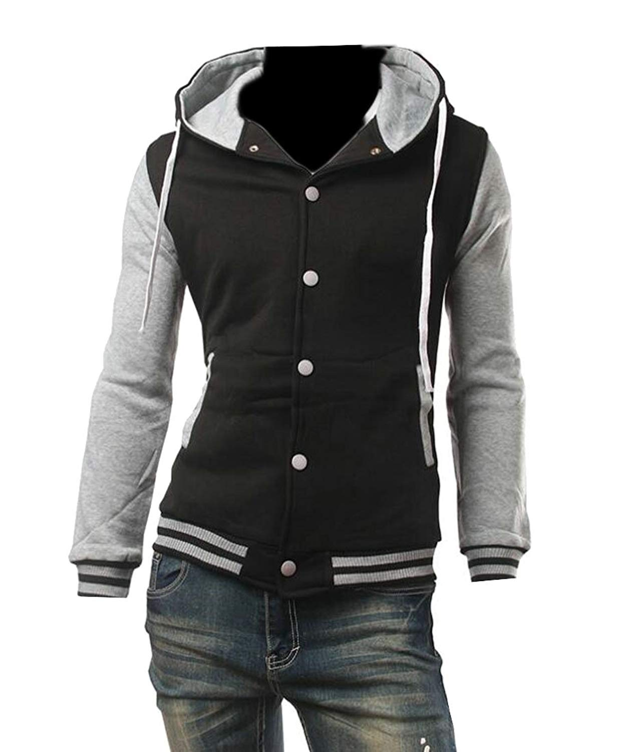 62f099946bb8 Get Quotations · UUYUK-Men Outwear Button Front Hoodie Sweatshirt Jacket  Coat