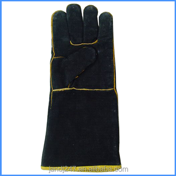 Mens Long Black Leather Gloves Use For Working