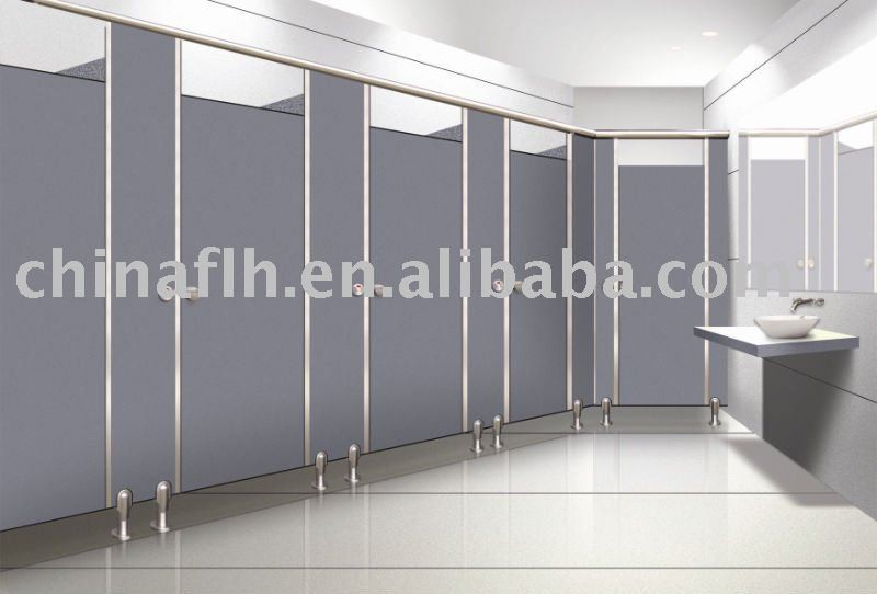 Phoelic hpl toilet cubicle partition with stainless steel for Stainless steel bathroom partitions