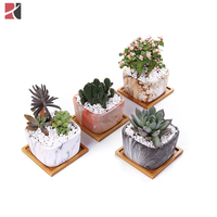 Hot sale mini square marble planter pots ceramic succulent plant pots