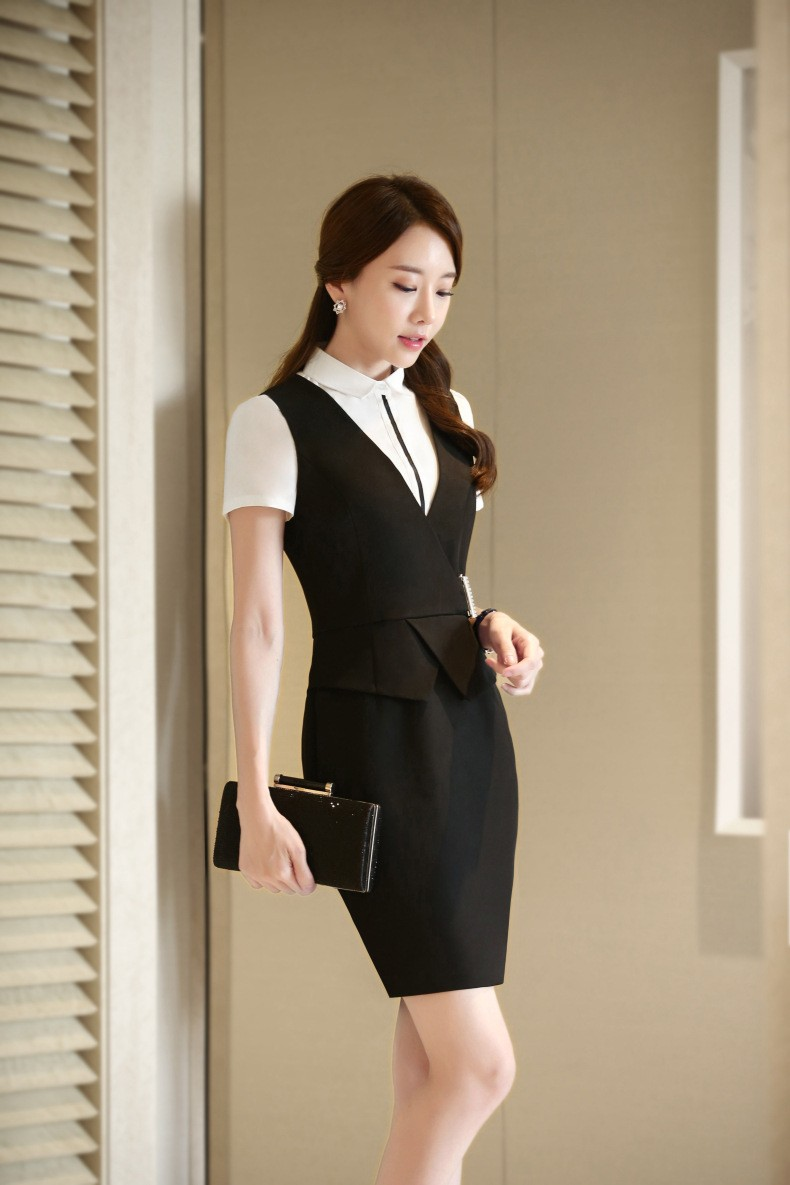 5f1d25acdea89 Latest Women Sexy Formal Business Sleeveless Blazer And Skirt Suit ...
